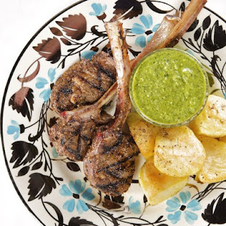 Lamb Lollipops with Green Goddess Mint Dipping Sauce and Roasted Potatoes
