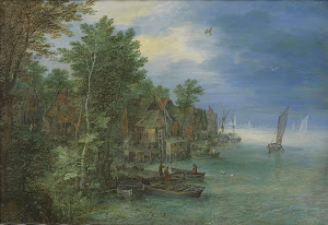 RIJKS: Jan Brueghel (I): View of a Village along a River 1604