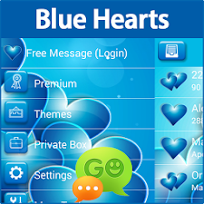 GO SMS Blue Hearts Theme