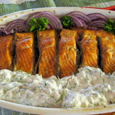 Roasted Salmon With Anchovies And Mayonnaise Tzatziki