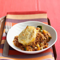 Bolognese Pie with Biscuit Topping