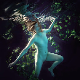 In the dark water. by Dmitry Laudin - Nudes & Boudoir Artistic Nude ( underwater, blue, woman, swim, leaves, black )