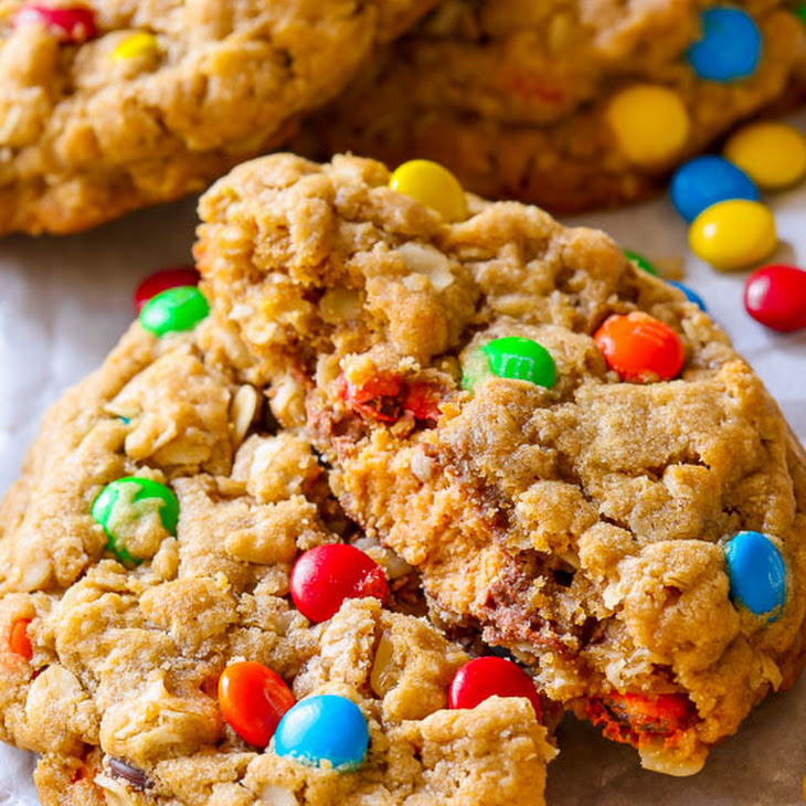 Peanut Butter Cup Surprise Monster Cookies Recipe | Yummly
