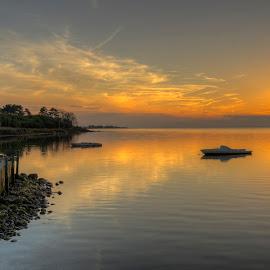 Sunset at Vestlolland by Kim  Schou - Landscapes Sunsets & Sunrises ( clouds, kim schou, hdr, sunset, boat, vestlolland )