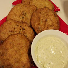 Clam Fritters With Dilly Pesto Dip