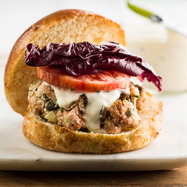 Grilled Fresh Salmon Burgers With Caper Mayonnaise Recipe — Dishmaps