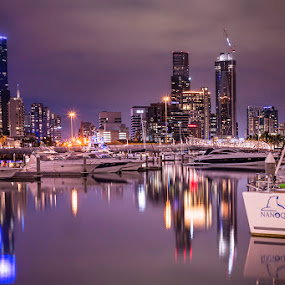 Purple Haze by Phil Hanna - City,  Street & Park  Skylines ( lights, water, skyline, purple, melbourne, sunset, boats, australia, reflections, dusk, city )