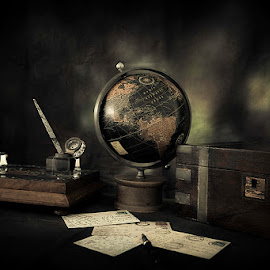 A postcard from you... by Eitel Bock - Artistic Objects Still Life ( communication, still life, writing, postcard, globe )
