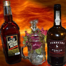 Wine like a Fireball from a mason jar ! by Linda Blevins - Food & Drink Alcohol & Drinks ( wine, glass, flower, fire )