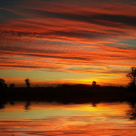 Sunset 4 by Angelica Glen - Landscapes Sunsets & Sunrises ( water, clouds, sunset, trees, night, lake )