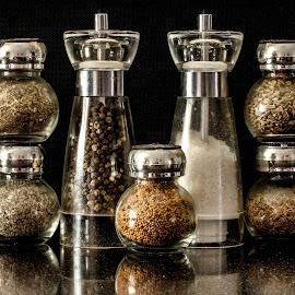 Herbs, salt & pepper by Garry Chisholm - Food & Drink Ingredients ( olive oil, garry chisholm, herbs, food, ingredient, pepper, spices, salt )