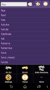 Swedish Zulu dictionary - screenshot