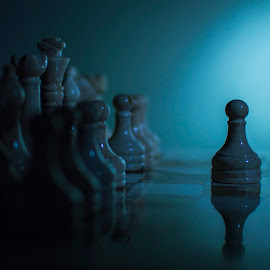 Solitary Pawn #2 by Christopher Fenning - Artistic Objects Other Objects ( fortitude, chess set, blue, backlight, blue and black, one, a, chess, solitude, chessboard, pawn )
