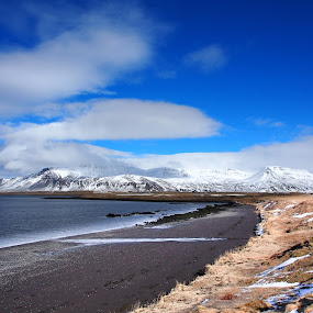 From Reykjavík-Iceland by Ólafur Ingi Ólafsson - Landscapes Beaches ( sand, sky, mountain, grass, heaven, ice, snow, white, sea, cloud, black,  )