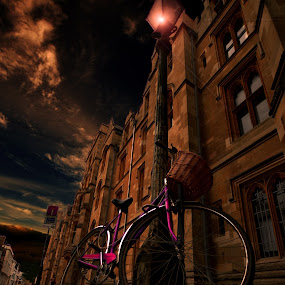 bicycle in the night by Dorota Grolewska - Transportation Bicycles ( magenta bicycle in old town night )