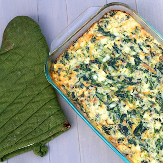 Cheddar, Bacon and Spinach Egg Casserole