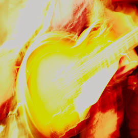 Overexposed Guitar by Daniel Gross - Abstract Patterns ( abstract, concert, rock and roll, guitar, overexposed )