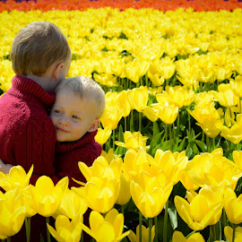Brotherly Love by Jason Weigner - Babies & Children Children Candids ( field, child, hug, tulip, children, yellow, kids, flowers, boy, Emotion, portrait, human, people )
