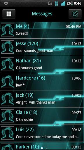 GO SMS Tron Style Theme