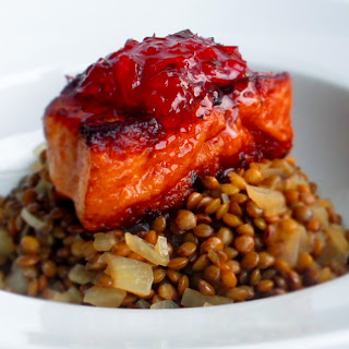 Crispy Beer Braised Pork Belly with French Lentils and Red Pepper Jelly