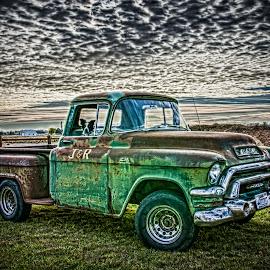 Shotgun by Richard Tilton - Transportation Automobiles ( classic car, hdr, sunset, dog, old truck )