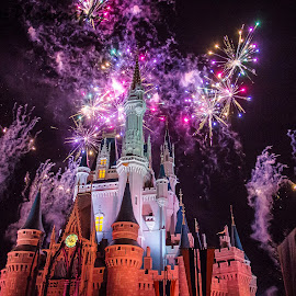 Magic Kingdom by Colleen Boyer - Abstract Fire & Fireworks ( mickey mouse, disney world, magic kingdom, fireworks, castle )