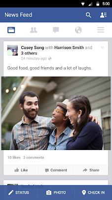 Скриншот установка программы и приложение для Android Facebook: