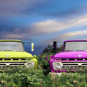 Fun Trucks by Joerg Schlagheck - Digital Art Things ( trucks, sky, purple, nice, yellow, ford, , colorful, mood factory, vibrant, happiness, January, moods, emotions, inspiration )