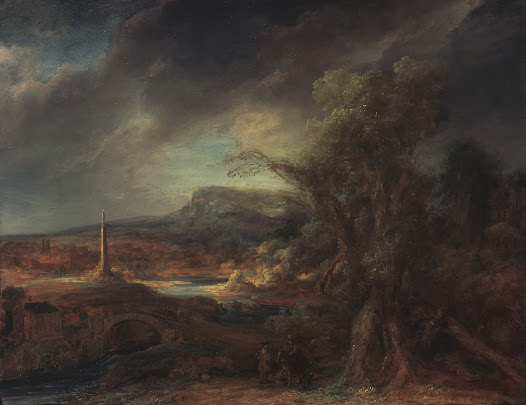 "Another of the stolen works is <i>Landscape with an Obelisk</i>, long thought to be by Rembrandt. In the 1970s, it was recognized as the work of his pupil Govaert Flinck.  Berenson called it ""a work of art of exquisite, sweet pathos and profound feeling."""