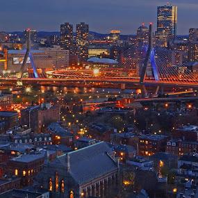 Boston Skyline 023 by Jeff Stallard - City,  Street & Park  Skylines ( skyline, boston, hancock building, massachusetts, charlestown, zakim bridge )