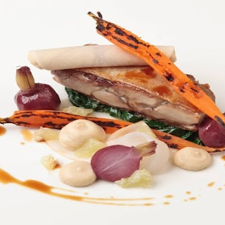 Steamed Duck Leg With Glazed Carrots, Lemon And Turnip