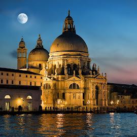 Santa Maria Della Salute, Venice by Nick M - Buildings & Architecture Public & Historical ( salute, church, sunset, venice, veneto, santa maria della salute, night, dorsoduro, basilica, maria, italy )