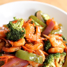 Shrimp and Vegetables with Thick Soy Sauce