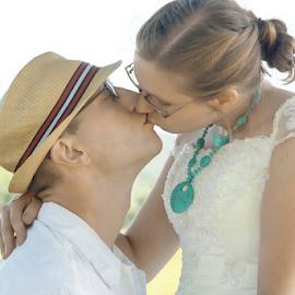 First Kiss by Janet Lyle - Wedding Bride & Groom ( wedding, bride, groom )