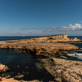 Moon Beach by Inma  Monte Picante - Landscapes Waterscapes ( clouds, ibiza, portinatx, moonbeach, stars, longexposure, moonlight )