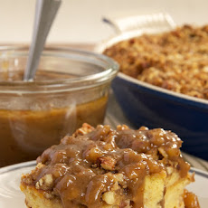Praline Bread Pudding with Caramel-Pecan Sauce