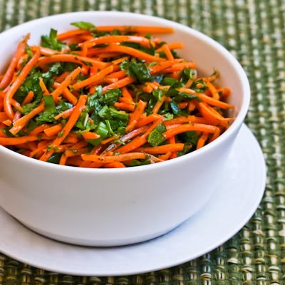 Spicy Shredded Carrot Salad with Mint, Cilantro, Green Onion, Lime, and Jalapeno