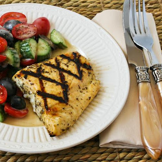 Recipe for Grilled Fish with Garlic, Basil, and Lemon (Halibut, Tilapia, or Mahi Mahi)