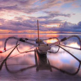 Jukung by Yande Ardana - Transportation Boats ( clouds, bali, transport, sea, sunrise, beach )