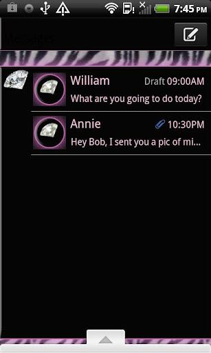 GO SMS THEME ZebraDiamonds4U