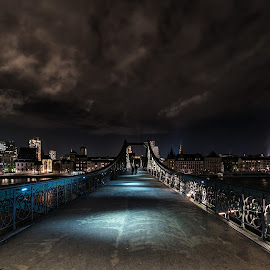 Bridge to Nowhere by Selman Dogan - City,  Street & Park  Night ( clouds, skyline, cityscape, city, nightscape, lights, frankfurt, night photography, skyscraper, wolken, eiserner steg, night, bridge, light )