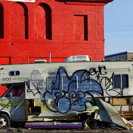 Abandoned RV by Chuck Hildebrandt - Transportation Other ( graffiti, rv, detroit, abandoned,  )