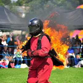 Woman on Fire by Tim Hoggarth - Sports & Fitness Other Sports ( stannage stunt team, mirfield show )