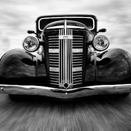 GMC On The Move by Keith Hawley - Transportation Automobiles ( trucks, b&w, pickup, vintage, transport, truck, gmc, movement, mono, pickups, classic )
