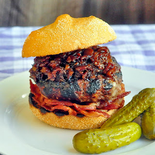 Roasted Garlic and White Cheddar Burgers with Beer and Bacon Jam