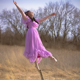 Falling Away by Laura Dark - People Portraits of Women ( chair, levitation, art, artistic, pink, falling )