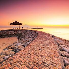 Golden Sunrise by Sunan Tara - Landscapes Sunsets & Sunrises ( love, bali, bale, waterscape, sanur, seascape, sunrise, landscape, together, sun )