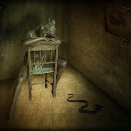 Woman on chair by Arne Wuensche - Digital Art Things ( bronze, composing, image processing, digital art, composition, bronze art )