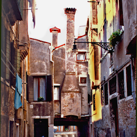 Venice, Italy - Residential Neighborhood by Jane Spencer - Buildings & Architecture Other Exteriors ( living quarters, neighborhood, venice, flowers, homes, laundry, italy )