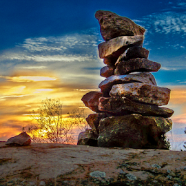 BECAUSE WE WERE HERE by Udo Weber - Nature Up Close Rock & Stone ( northern, warm, canada, sunset, stone, rock, close )